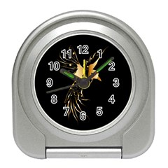 Beautiful Bird In Gold And Black Travel Alarm Clocks by FantasyWorld7