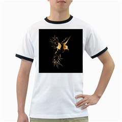 Beautiful Bird In Gold And Black Ringer T Shirts