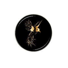 Beautiful Bird In Gold And Black Hat Clip Ball Marker (4 Pack)