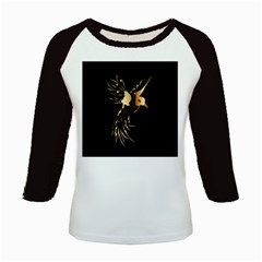 Beautiful Bird In Gold And Black Kids Baseball Jerseys