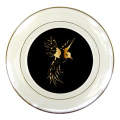 Beautiful Bird In Gold And Black Porcelain Plates
