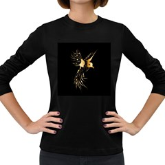Beautiful Bird In Gold And Black Women s Long Sleeve Dark T Shirts