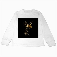 Beautiful Bird In Gold And Black Kids Long Sleeve T Shirts