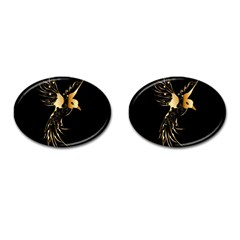 Beautiful Bird In Gold And Black Cufflinks (oval)