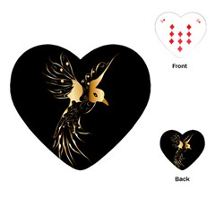 Beautiful Bird In Gold And Black Playing Cards (heart)
