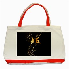Beautiful Bird In Gold And Black Classic Tote Bag (red)