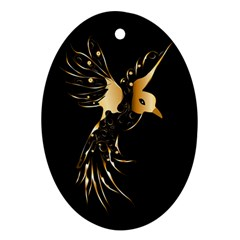 Beautiful Bird In Gold And Black Oval Ornament (two Sides)