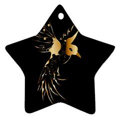 Beautiful Bird In Gold And Black Star Ornament (two Sides)