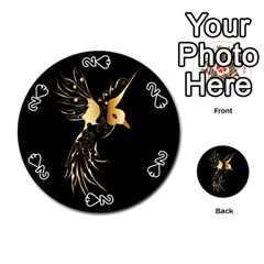 Beautiful Bird In Gold And Black Playing Cards 54 (round)