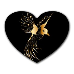 Beautiful Bird In Gold And Black Heart Mousepads