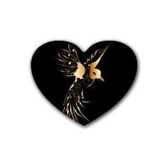 Beautiful Bird In Gold And Black Rubber Coaster (heart)