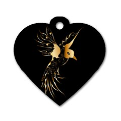 Beautiful Bird In Gold And Black Dog Tag Heart (two Sides)