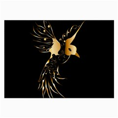 Beautiful Bird In Gold And Black Large Glasses Cloth (2 Side)