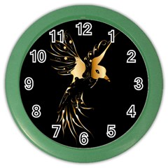 Beautiful Bird In Gold And Black Color Wall Clocks