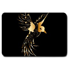 Beautiful Bird In Gold And Black Large Doormat