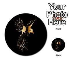 Beautiful Bird In Gold And Black Multi Purpose Cards (round)