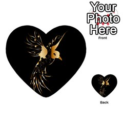 Beautiful Bird In Gold And Black Multi-purpose Cards (heart)