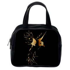 Beautiful Bird In Gold And Black Classic Handbags (one Side)