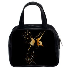 Beautiful Bird In Gold And Black Classic Handbags (2 Sides)