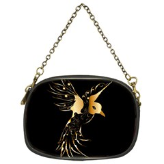 Beautiful Bird In Gold And Black Chain Purses (one Side)