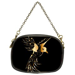 Beautiful Bird In Gold And Black Chain Purses (two Sides)