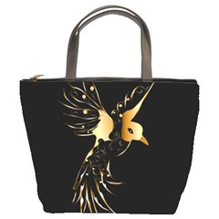 Beautiful Bird In Gold And Black Bucket Bags