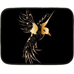 Beautiful Bird In Gold And Black Double Sided Fleece Blanket (mini)