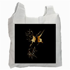 Beautiful Bird In Gold And Black Recycle Bag (one Side)