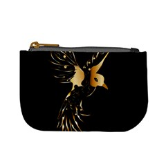 Beautiful Bird In Gold And Black Mini Coin Purses by FantasyWorld7