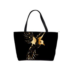 Beautiful Bird In Gold And Black Shoulder Handbags