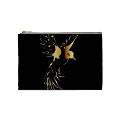 Beautiful Bird In Gold And Black Cosmetic Bag (medium)