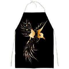 Beautiful Bird In Gold And Black Full Print Aprons by FantasyWorld7