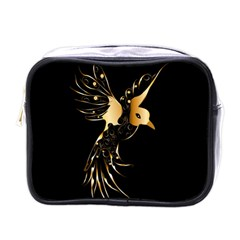 Beautiful Bird In Gold And Black Mini Toiletries Bags