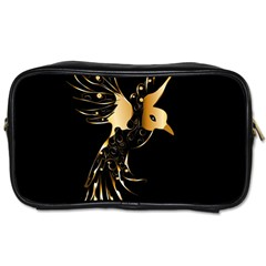 Beautiful Bird In Gold And Black Toiletries Bags