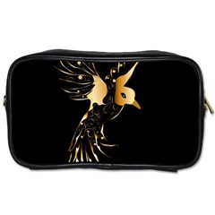 Beautiful Bird In Gold And Black Toiletries Bags 2 Side