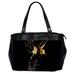 Beautiful Bird In Gold And Black Office Handbags