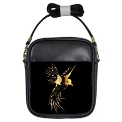Beautiful Bird In Gold And Black Girls Sling Bags