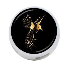 Beautiful Bird In Gold And Black 4 Port Usb Hub (one Side)