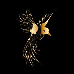 Beautiful Bird In Gold And Black Magic Photo Cubes