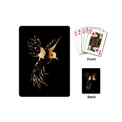 Beautiful Bird In Gold And Black Playing Cards (mini)