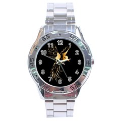 Beautiful Bird In Gold And Black Stainless Steel Men s Watch