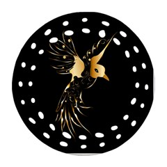 Beautiful Bird In Gold And Black Round Filigree Ornament (2side)