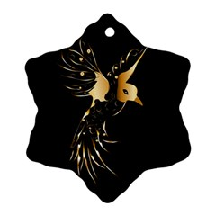 Beautiful Bird In Gold And Black Snowflake Ornament (2 Side)