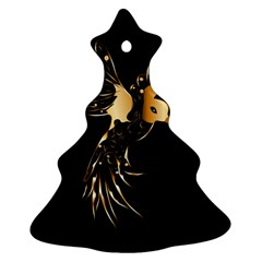 Beautiful Bird In Gold And Black Christmas Tree Ornament (2 Sides)