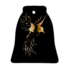 Beautiful Bird In Gold And Black Bell Ornament (2 Sides)