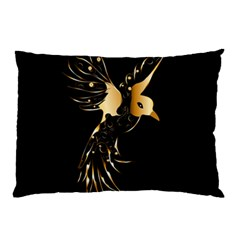 Beautiful Bird In Gold And Black Pillow Cases (two Sides)