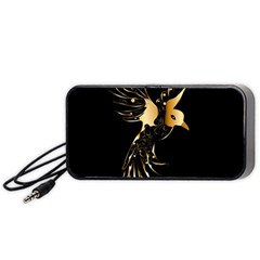 Beautiful Bird In Gold And Black Portable Speaker (black)