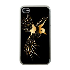 Beautiful Bird In Gold And Black Apple Iphone 4 Case (clear)
