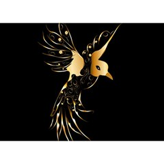 Beautiful Bird In Gold And Black Birthday Cake 3d Greeting Card (7x5)
