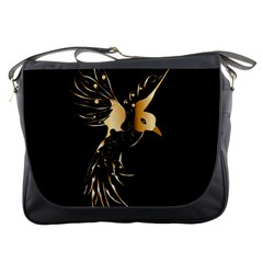 Beautiful Bird In Gold And Black Messenger Bags